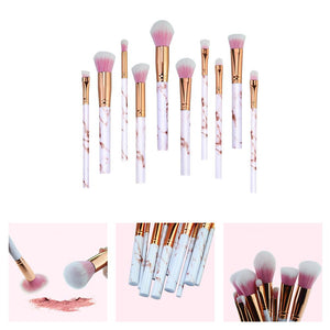 10pc Pale Pink Marble Makeup Brush Set