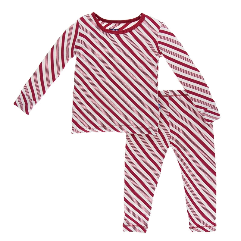Crimson Candy Cane Stripe Long Sleeve Pajama Set