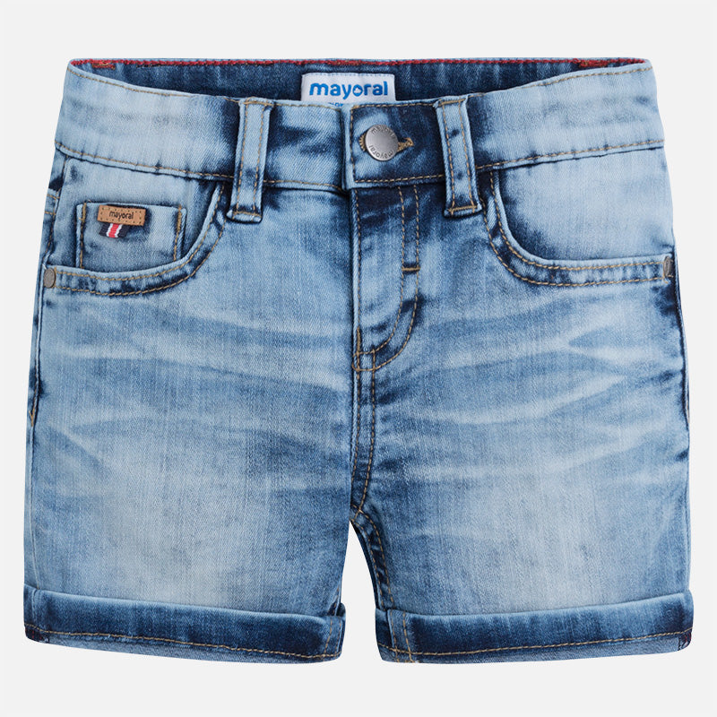 Light Denim Faded Shorts