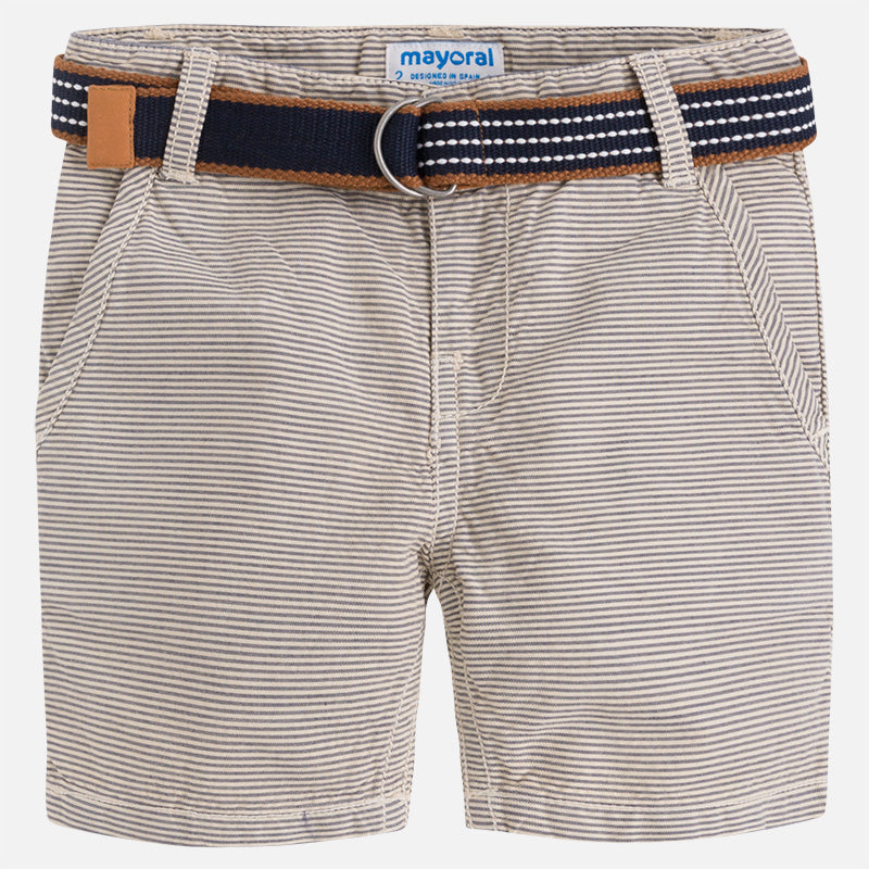 Khaki Stripe Shorts with Navy Belt