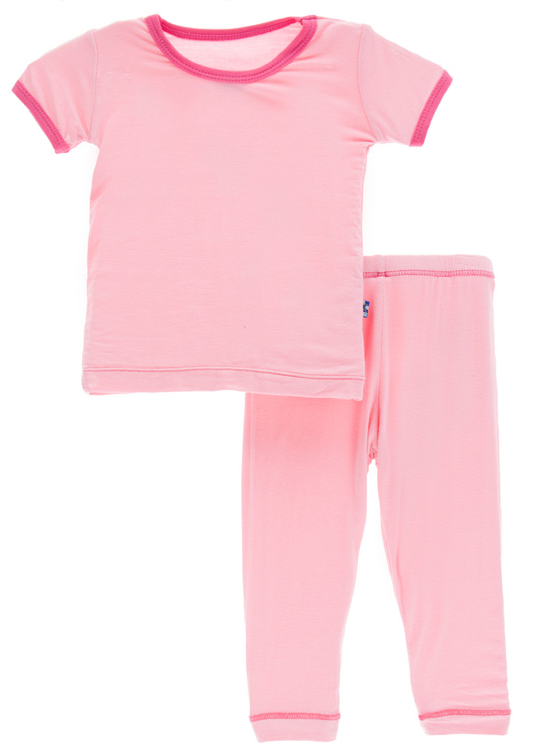 Lotus w/ Flamingo Trim Short Sleeve Pajama Set