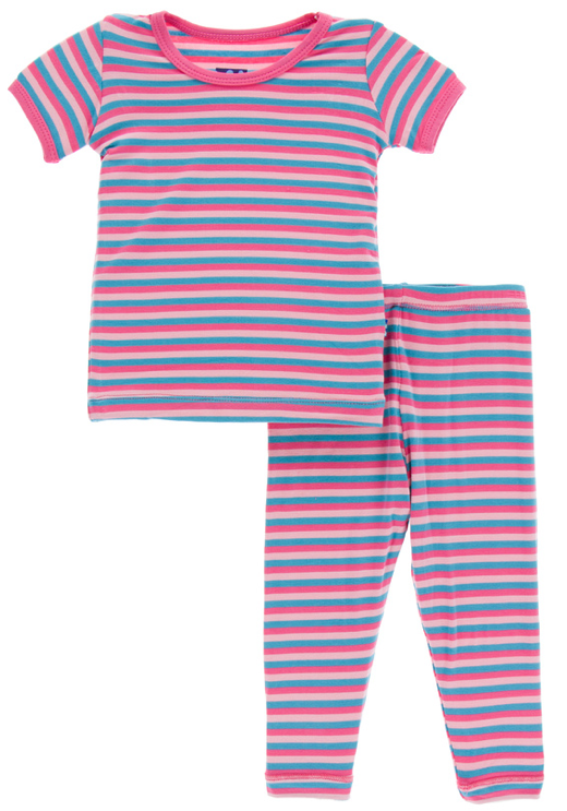 Flamingo Anniversary Stripe Short Sleeve Pajama Set