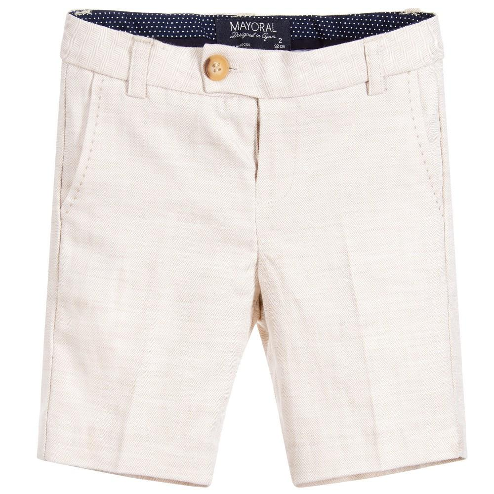 Beige Cotton & Linen Shorts