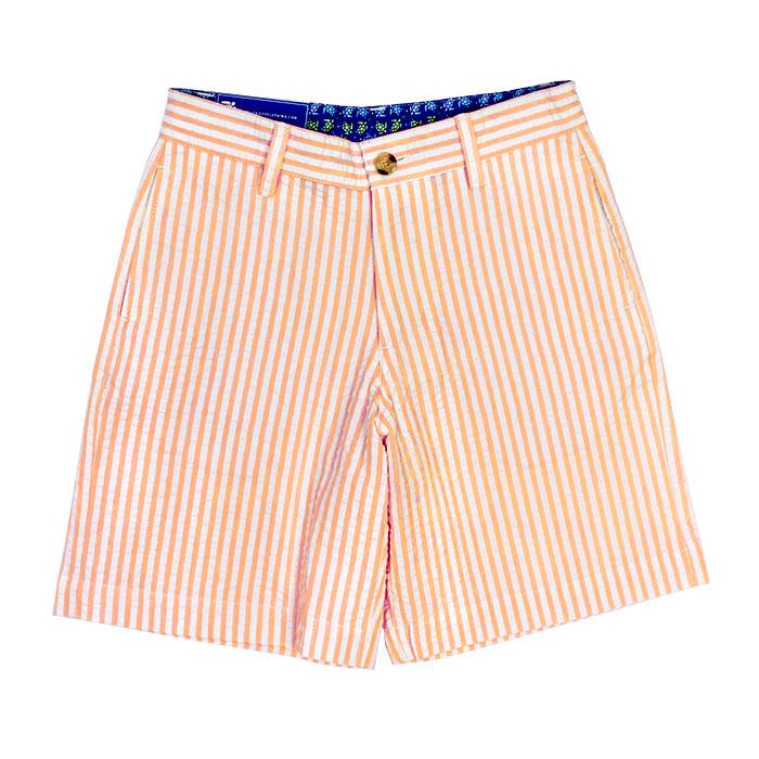 Orange Stripe Seersucker Shorts