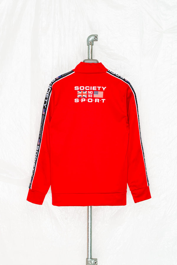 SOCIETY SPORT RED TAPED POLY TRACK JACKET
