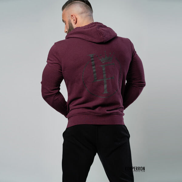 Lords of Fitness Fitted Zip-up Hoodie Burgundy