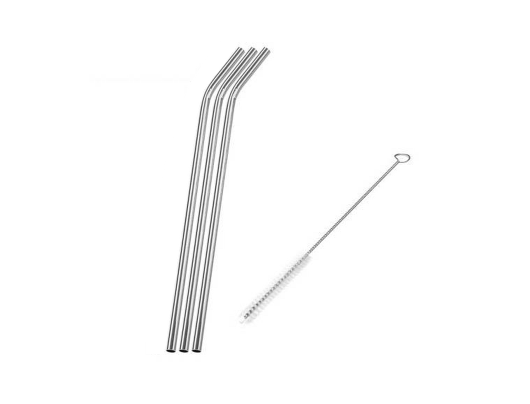 Stainless Steel Drinking Straws and Cleaning Brush
