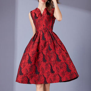 Red Embroidery Slim Party Evening Dress