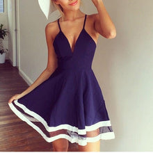 V Collar Straps Yarn Stitching Vacation Skater Dress