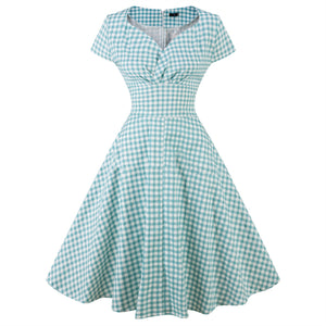Retro Plaid V Collar Expansion Skater Dress