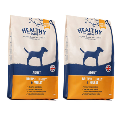 2 X 6KG British Turkey & Millet (Adult)
