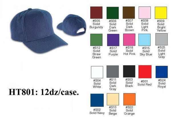 First Quality Plain Solid Baseball Caps Hats HT801 - OPT FASHION WHOLESALE