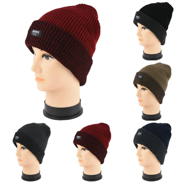 Wholesale Knit Thermal Cuffed Long Beanie Hats H53061