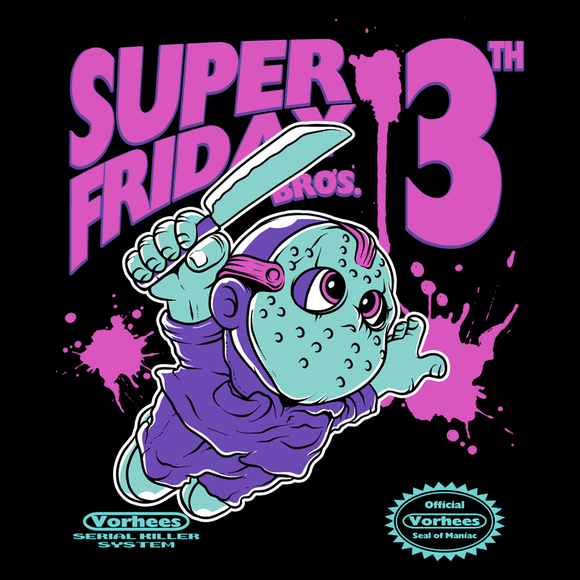 Super Friday Bros - Retro and Pixel Video Game T-shirts -  Tank, Long Sleeved, Fit, Nintendo, NES, Super Mario, Mario 3, Box Art, SMW, Super Mario World, Bowser, Gamer, Mario Bros, Mash Up, Friday the 13th, Jason Vorhees, Crystal Lake, Horror, Slasher, Film, Camp, Freddy, Mask, Men, Women, Kids, Tees, Clothes