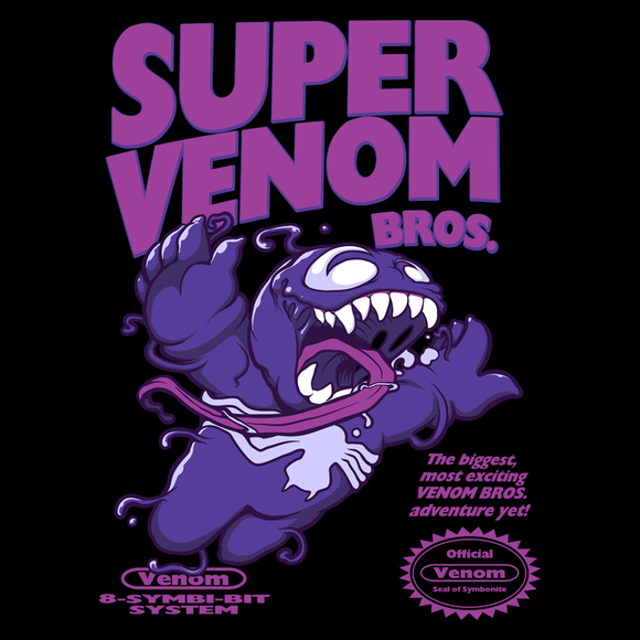 Super Symbiote Bros - Retro and Pixel Video Game T-shirts - Nintendo, NES, Super Mario, Mario 3, Box Art, SMW, Super Mario World, Bowser, Gamer, Mario Bros, Mash Up, Villain, Venom, Spider, Symboite, Comic Book, Alien, Host, Superheroes, Black, Men, Women, Kids, Tees, Clothes
