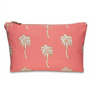 Soft canvas travel pouch with embroidered Palmier or palm tree pattern in coral colour