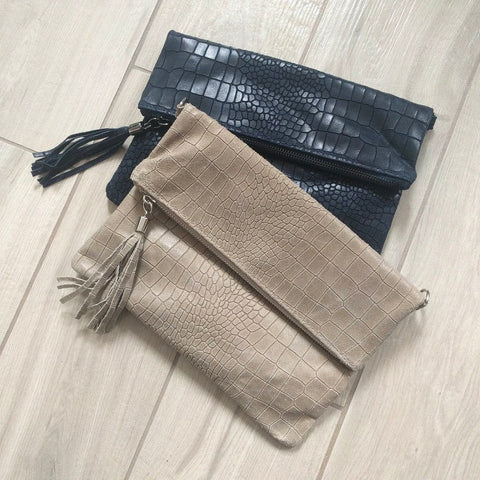 Crocodile hide effect foldover Italian leather clutch bag in navy and beige