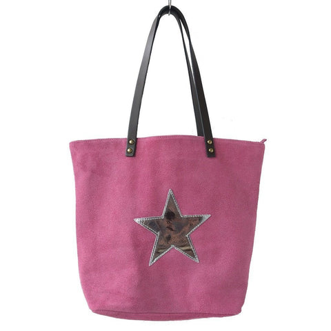 Italian suede leather tote bag with shiny metallic leather star in fuchsia with double leather straps