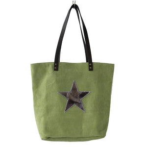 Italian suede leather tote bag with shiny metallic leather star in lime with double leather straps