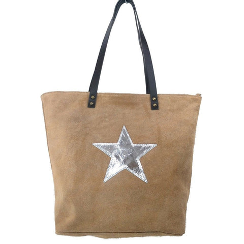 Italian suede leather tote bag with shiny metallic leather star in beige with double leather straps