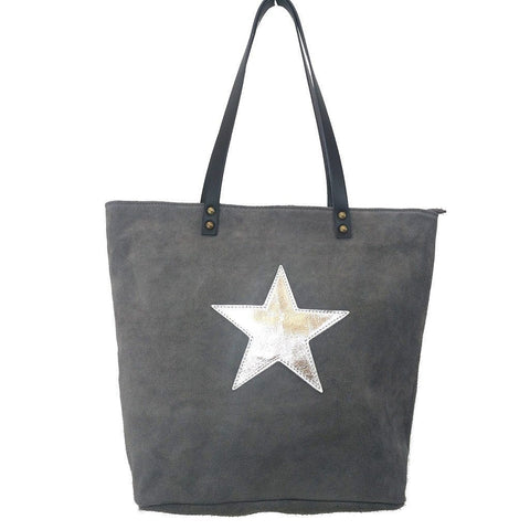 Italian suede leather tote bag with shiny metallic leather star in grey with double leather straps - front view