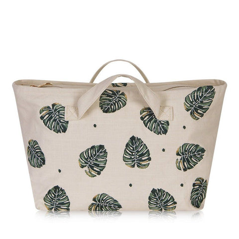 Soft canvas travel bag in Jungle Leaf pattern in natural colour