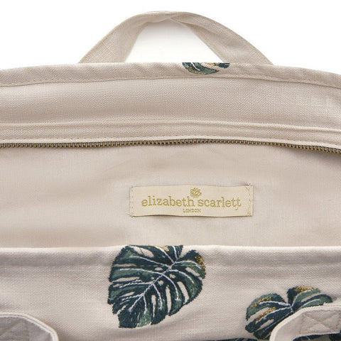 Soft canvas travel bag in Jungle Leaf pattern in natural colour - internal view