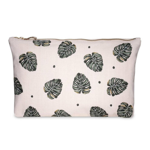 Soft canvas travel pouch in Jungle Leaf pattern in rose pink colour