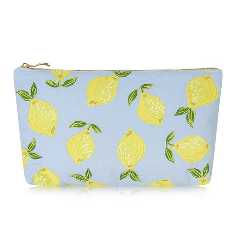 Soft canvas travel pouch with embroidered Lemon pattern in chambray or baby blue colour