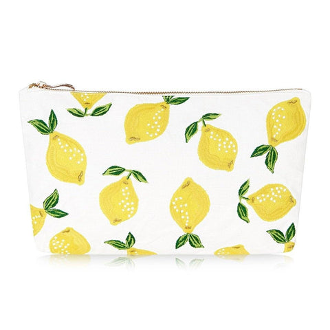 Soft canvas travel pouch with embroidered Lemon pattern in blanc or white colour