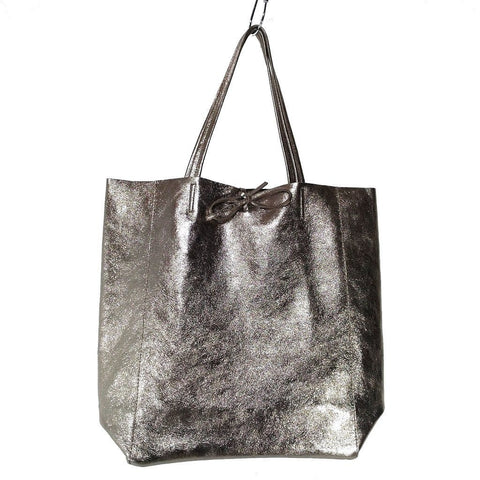 Image of Spacious genuine Italian leather shopper bag with metallic bronze finish