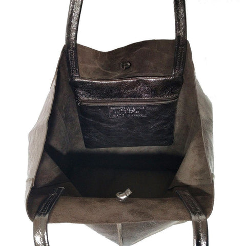Spacious genuine Italian leather shopper bag with metallic bronze finish - internal view