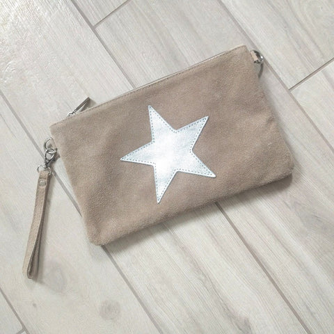 Italian suede leather clutch bag with shiny metallic leather star in beige
