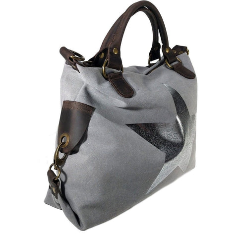Vintage look canvas and genuine leather bag with shiny metallic star in light grey with handles and a detachable long strap