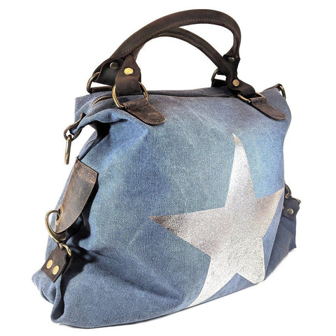 Vintage look canvas and genuine leather bag with shiny metallic star in navy with handles and a detachable long strap