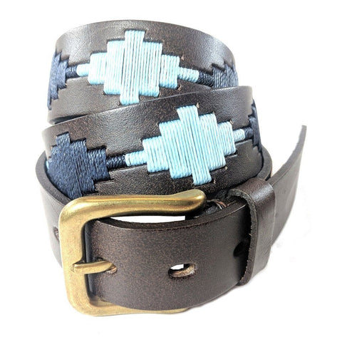 Argentinian embroidered bridle leather Polo belt in brown leather with navy & pale blue