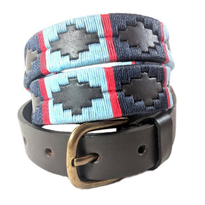 Narrow Argentinian embroidered bridle leather Polo belt in brown leather with navy, pale blue & red stripe