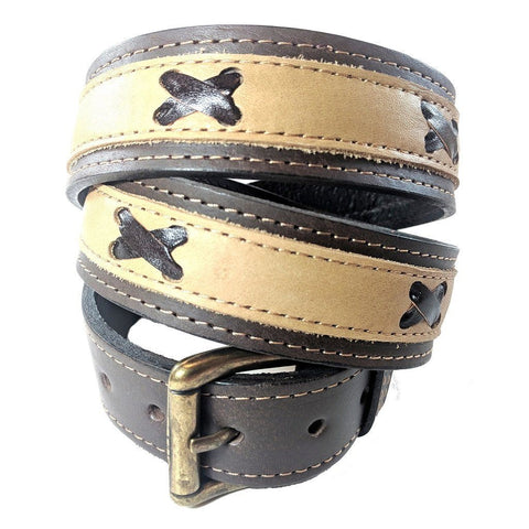 Argentinian nubuk leather Polo belt in brown leather with brass style buckle