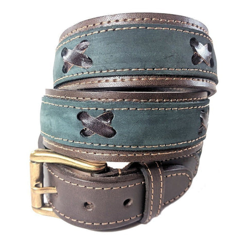 Argentinian nubuk leather Polo belt in green leather with brass style buckle