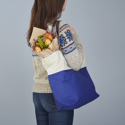 Bright handmade canvas shopper bag in pale blue & lapis with comfortable leather handle