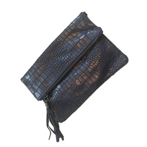 Image of Crocodile hide effect foldover Italian leather clutch bag in navy