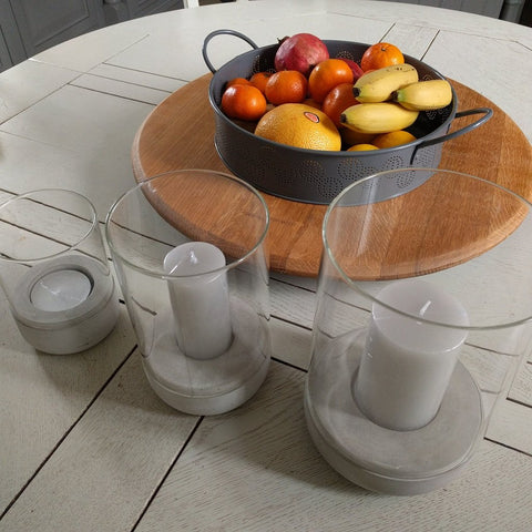 Selection of concrete & glass candle holders or hurricane lamps by blomus with candles - large, medium & small (tealight)
