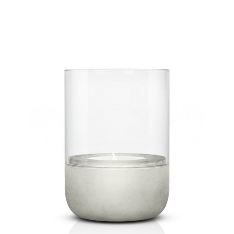 Small tealight concrete & glass candle holder or hurricane lamp by blomus with candle
