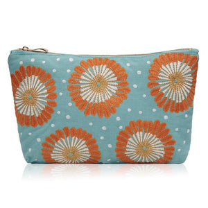 Soft canvas travel pouch in blue Lamu pattern on white background