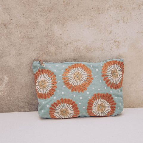 Soft canvas travel pouch in blue Lamu pattern