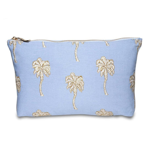 Image of Soft canvas travel pouch with embroidered Palmier or palm tree pattern in baby blue colour
