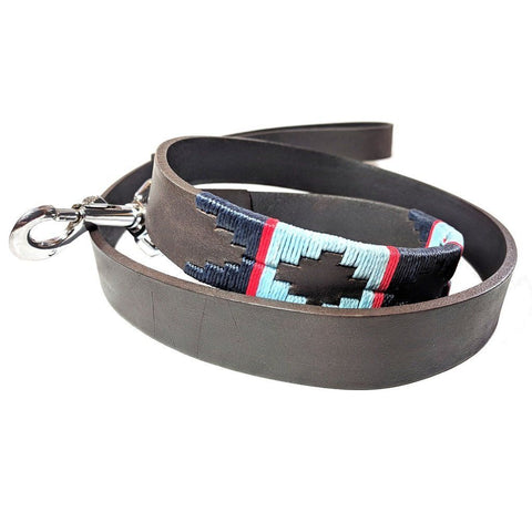 Argentinian embroidered bridle leather Polo style dog lead in brown leather with navy, pale blue & red stripe