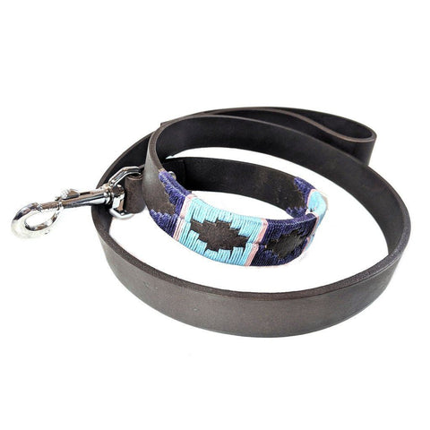 Argentinian embroidered bridle leather Polo style dog lead in brown leather with pale blue, purple & pink stripe