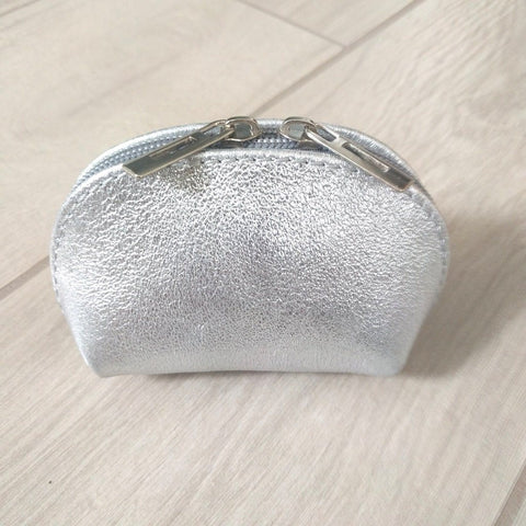 Genuine leather coin purse in metallic silver