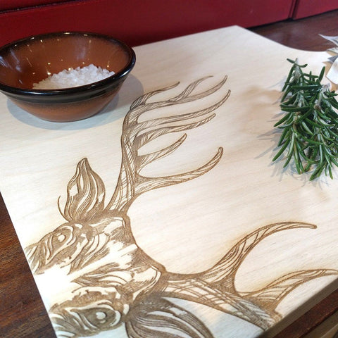 Scottish sycamore cutting or serving board with engraved majestic stag decoration